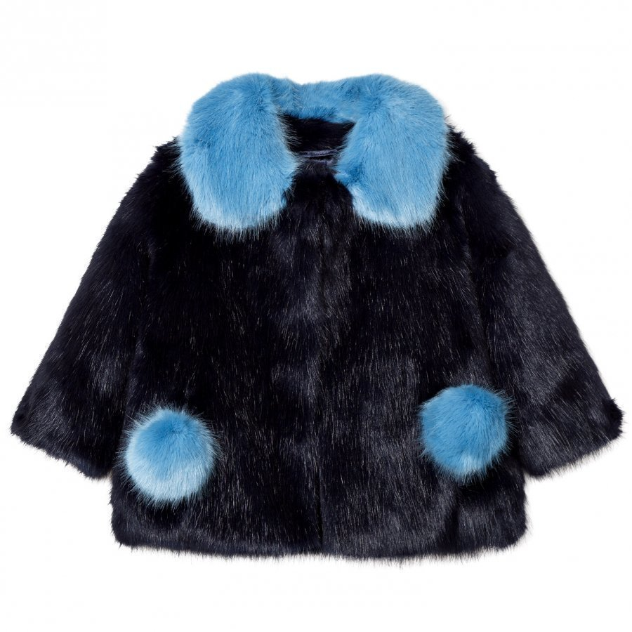 Bandit's Girl Navy/Blue Faux Fur Coat With Pom Pom Pockets Turkis