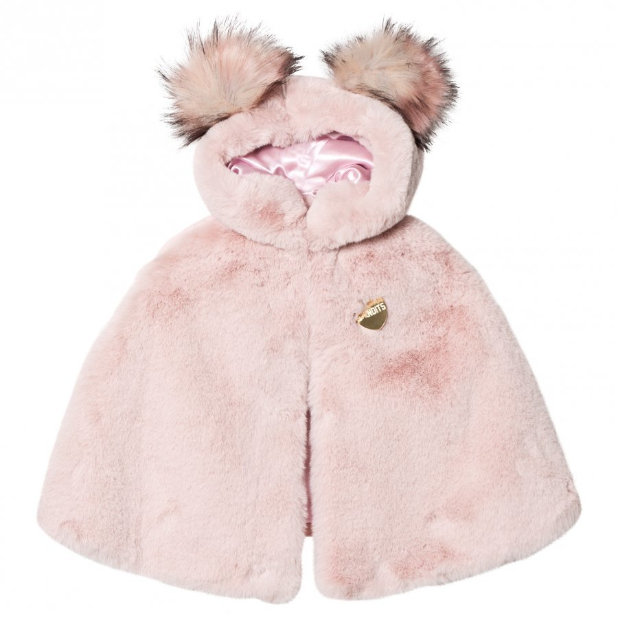 Bandit's Girl Pink Faux Fur Cape With Pom Pom Hood Viitta