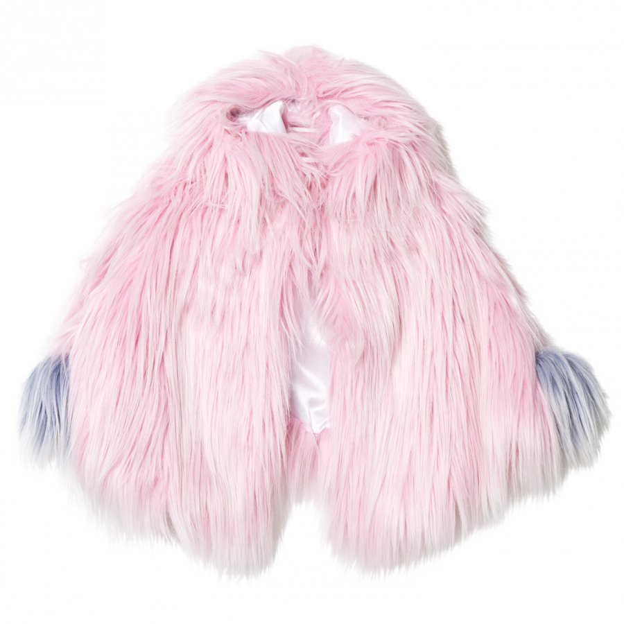 Bandit's Girl Pink Shaggy Faux Fur Pink Cape With Pom Pom Viitta