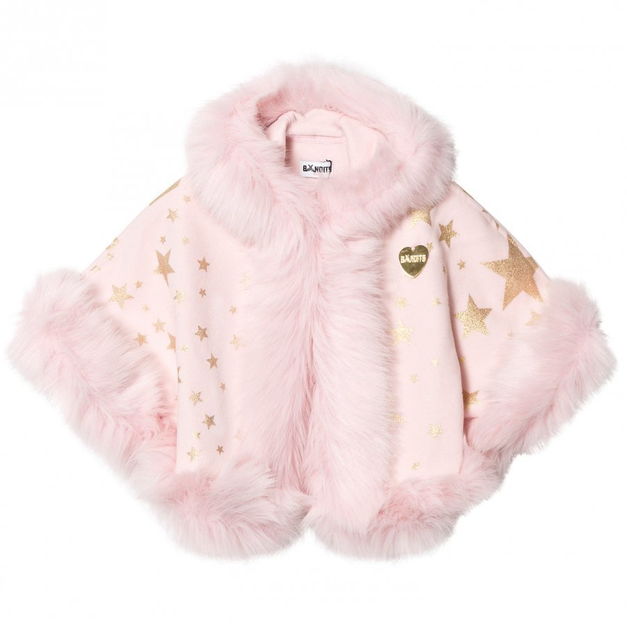 Bandit's Girl Pink Star Print Faux Fur Hooded Cape Viitta