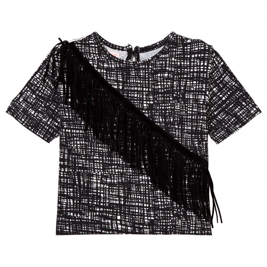 Bang Bang Copenhagen Black And White Grid Pony Tee With Black Fringing T-Paita