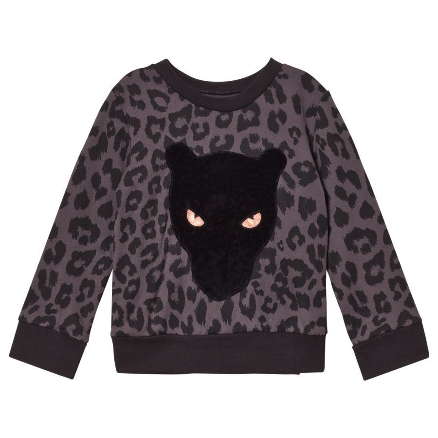 Bang Bang Copenhagen Black Leoprint Applique Sweatshirt Oloasun Paita