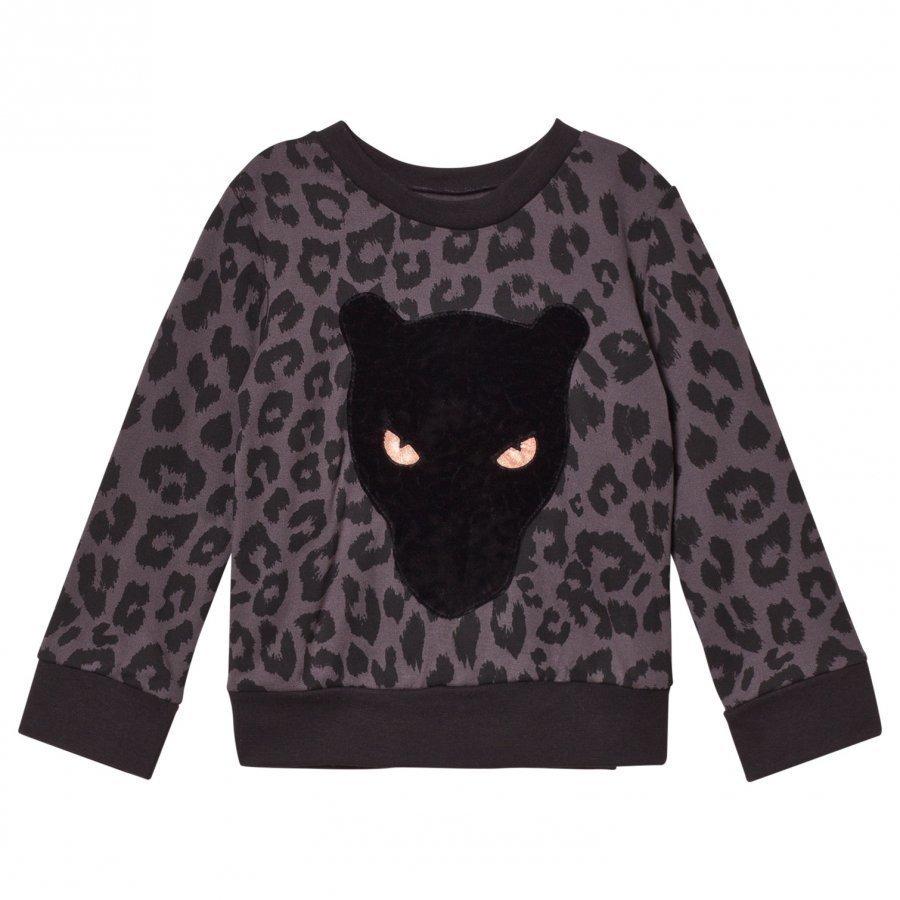 Bang Bang Copenhagen Black Leoprint Applique Sweatshirt Oloasun Paita