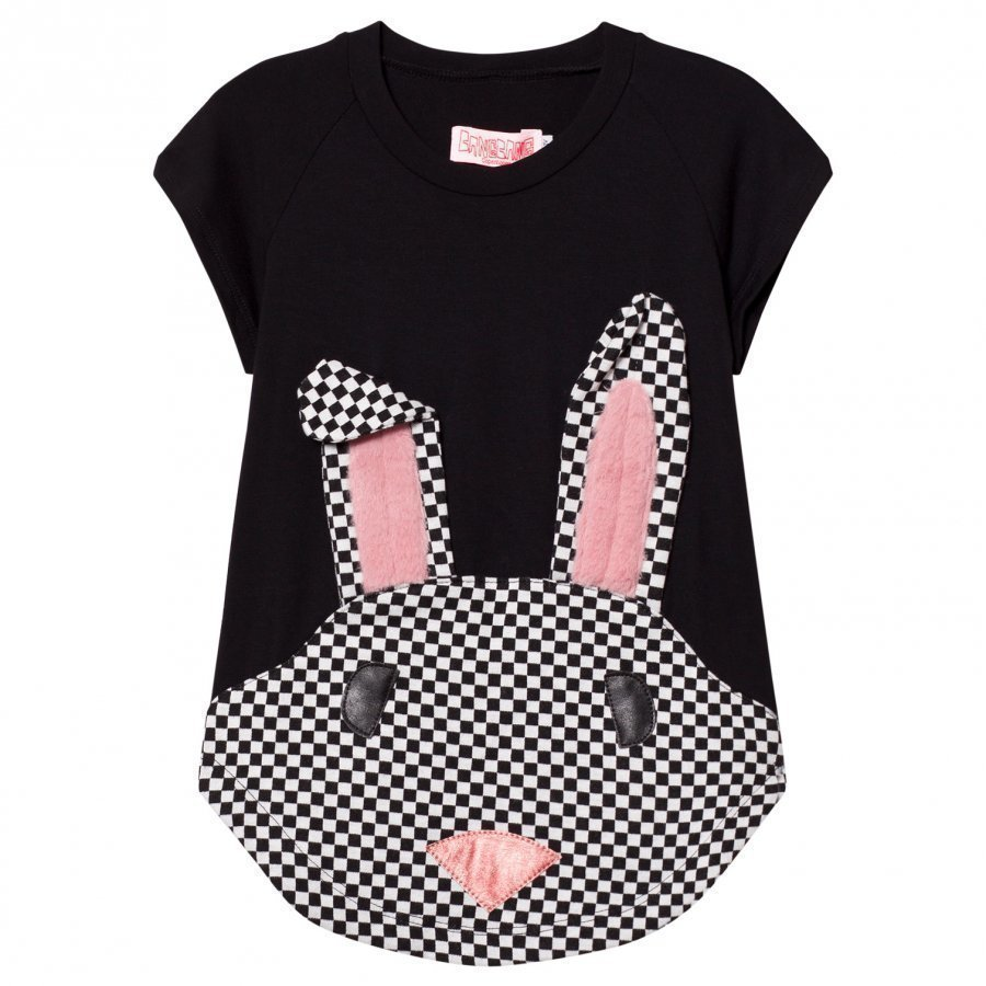 Bang Bang Copenhagen Black Nova Rabbit Check Applique Sweat Dress Mekko