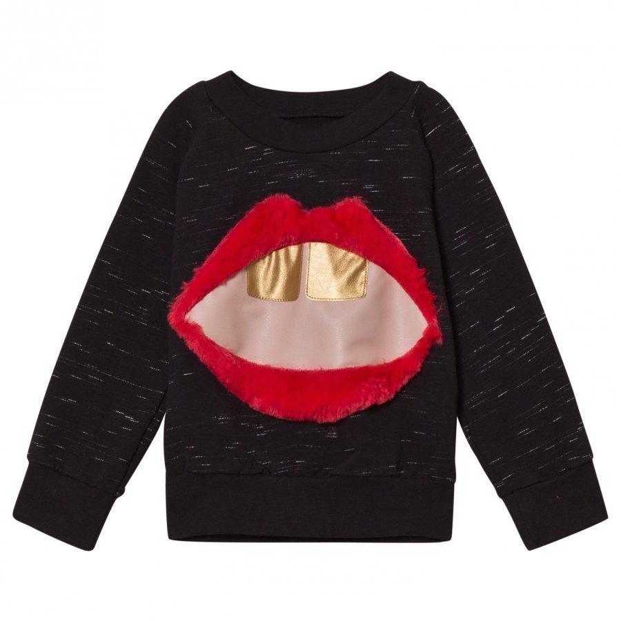Bang Bang Copenhagen Black Slub Mouth Applique Hello Sweatshirt Oloasun Paita