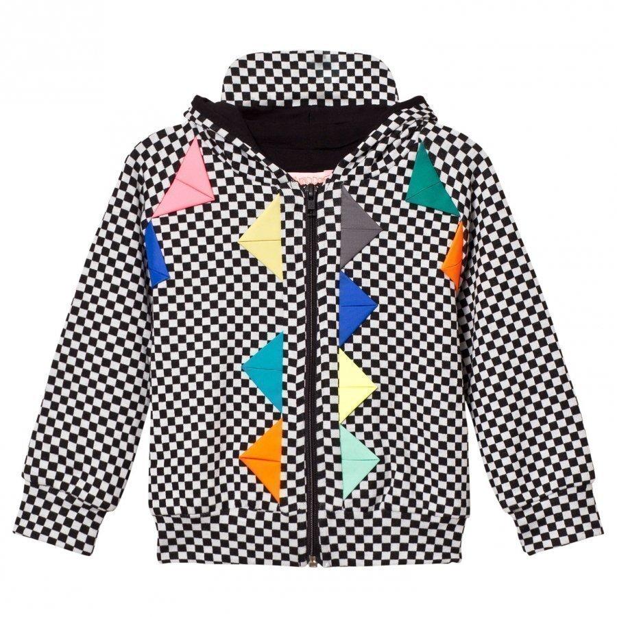 Bang Bang Copenhagen Black/White Checkerboard Neon Detail Hoodie Huppari
