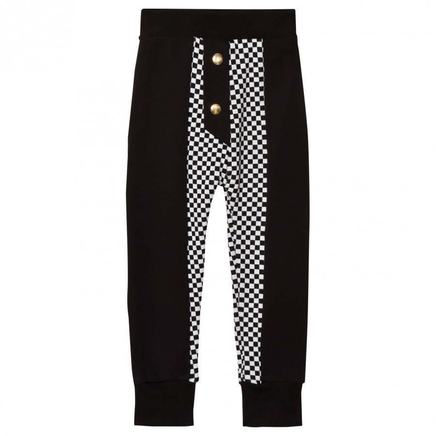Bang Bang Copenhagen Black/White Half Check Sweat Party Pants Housut