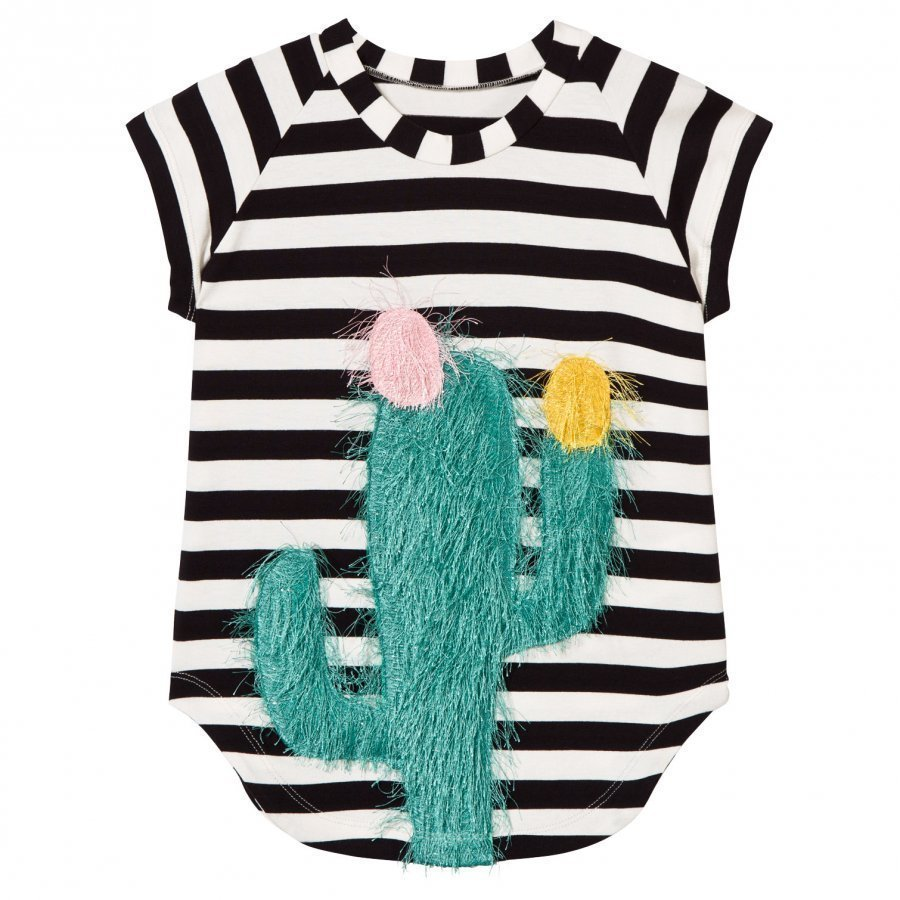 Bang Bang Copenhagen Cactus Nova Cookie Applique Dress Black/White Mekko