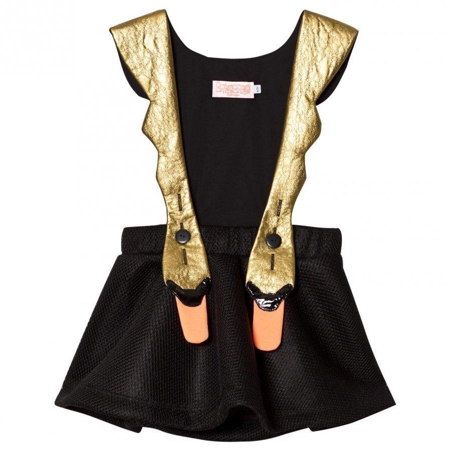 Bang Bang Copenhagen Exclusive Black/Gold Swan Bird Mesh Dress Juhlamekko
