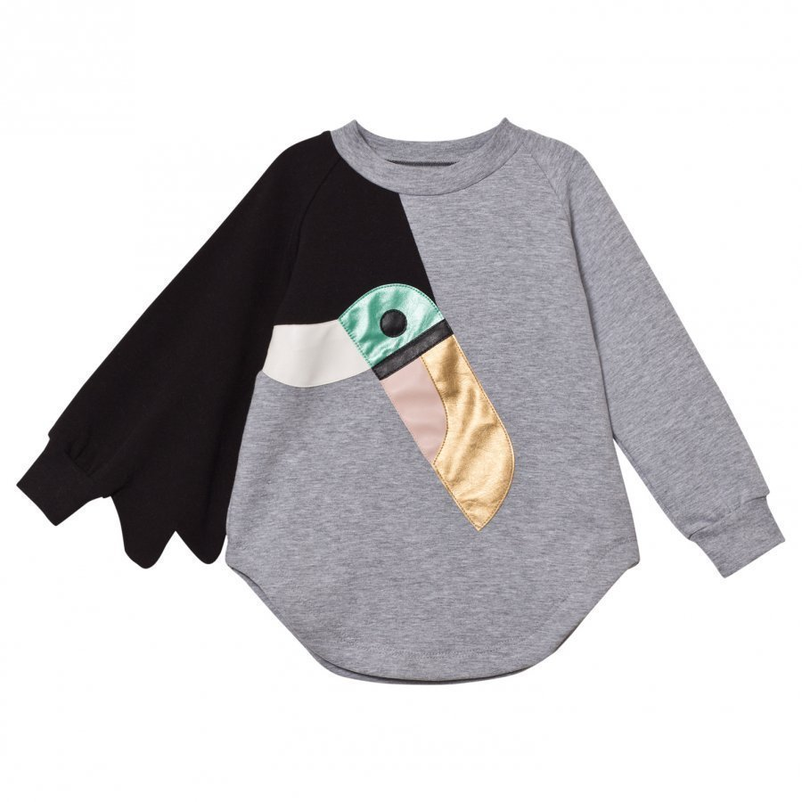 Bang Bang Copenhagen Grey Marl Toucan Love Bird Sweat Dress Mekko