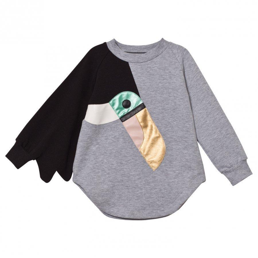 Bang Bang Copenhagen Grey Marl Toucan Love Bird Sweat Dress Mekko