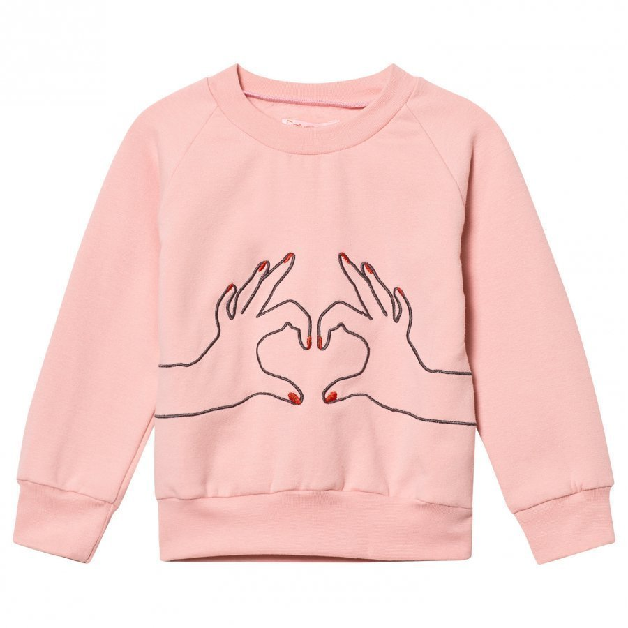 Bang Bang Copenhagen Pink Love Heart Embroidered Sweatshirt Oloasun Paita