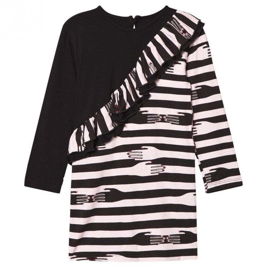 Bang Bang Copenhagen Pink/Black Hands Print Sevilla Ruffle Dress Mekko