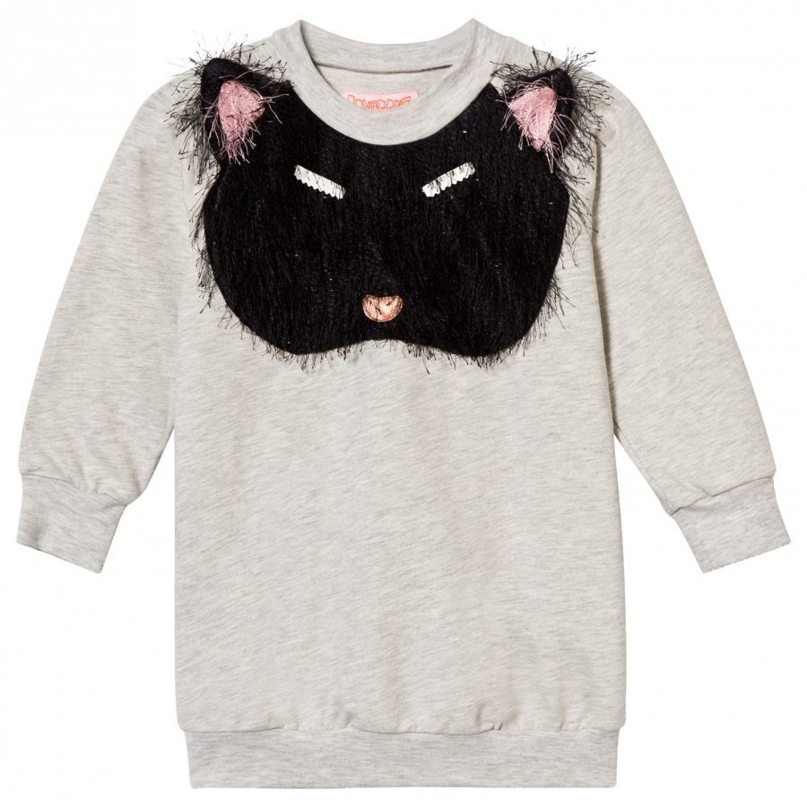 Bang Bang Copenhagen Pixie Bob Sweat Dress Fluffy Cat Applique Grey Melange Mekko