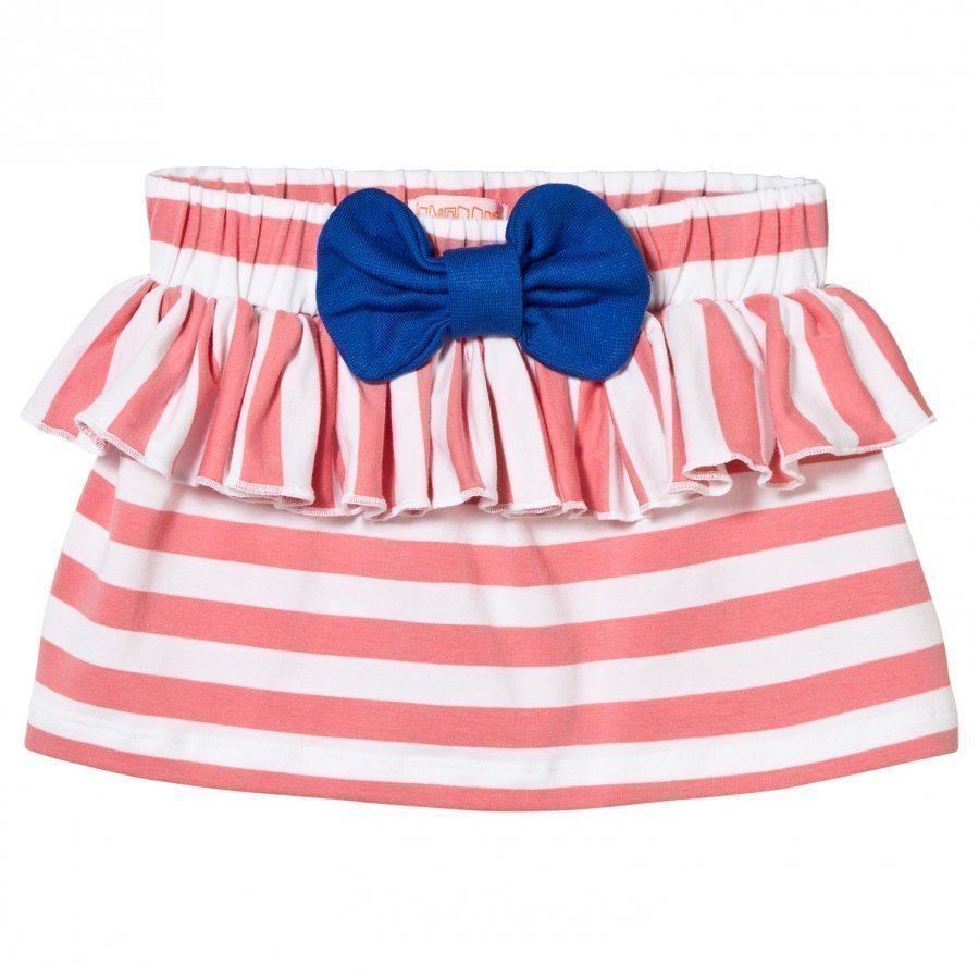 Bang Bang Copenhagen Stripe Ruffle And Bow Skirt Pink Lyhyt Hame