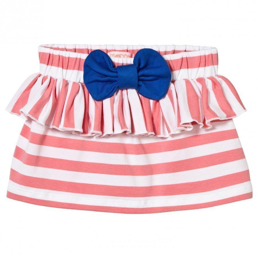 Bang Bang Copenhagen Stripe Ruffle And Bow Skirt Pink Lyhyt Hame