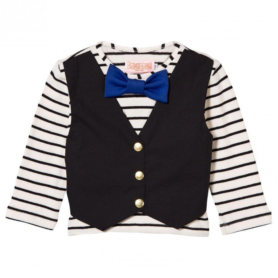 Bang Bang Copenhagen Waistcoat And Bow Tie Hudson Tee Black/White T-Paita