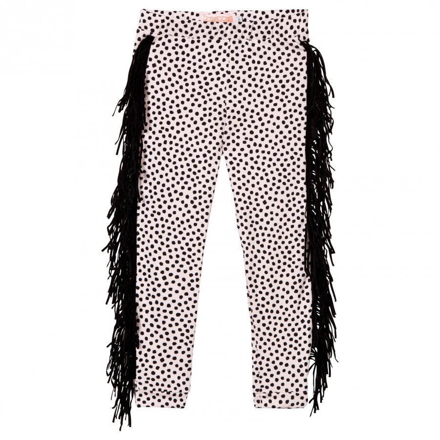 Bang Bang Copenhagen Wayne Dot Leggings Pale Pink And Black With Fringing Legginsit