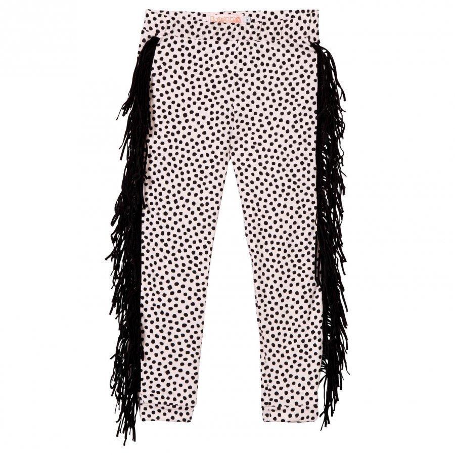 Bang Bang Copenhagen Wayne Dot Leggings Pale Pink And Black With Fringing Legginsit