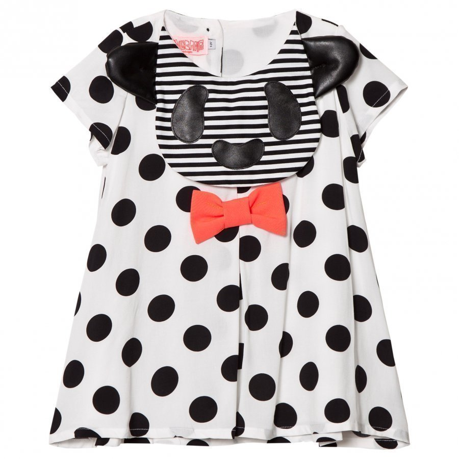 Bang Bang Copenhagen White And Black Spot Dog Applique Big Hug Woven Dress Mekko