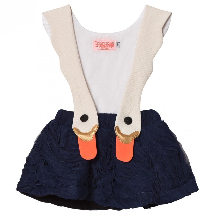 Bang Bang Copenhagen White/Navy Swan Bird Girl Ruffle Dress Juhlamekko
