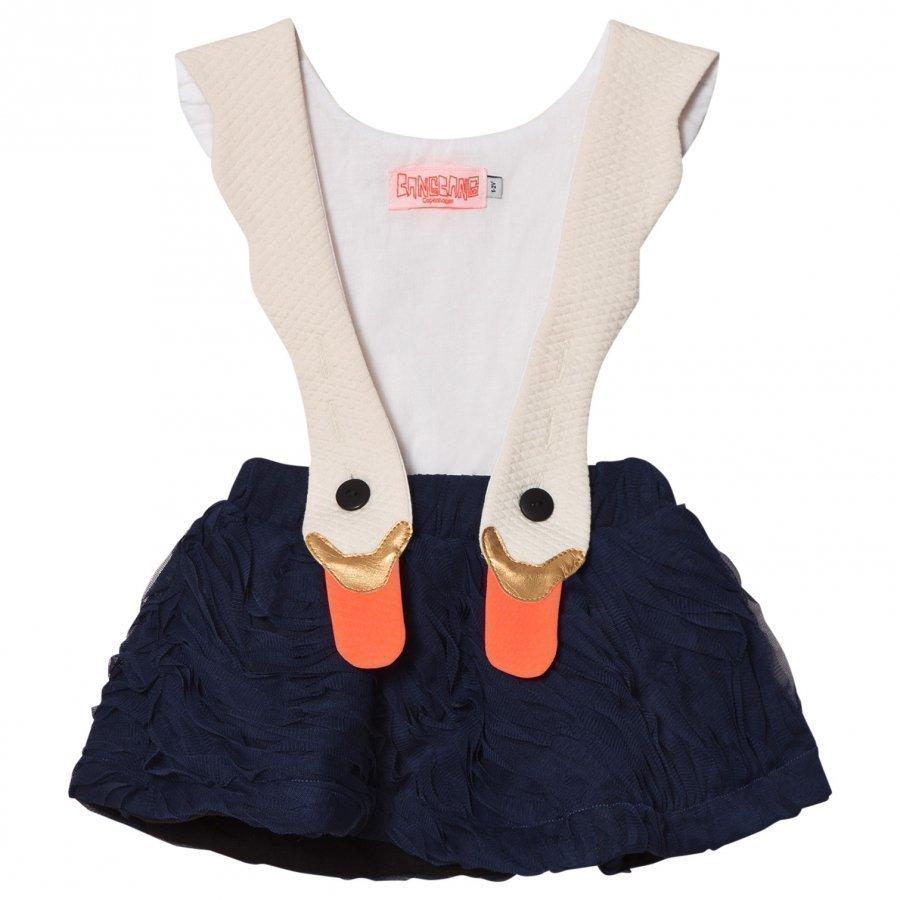 Bang Bang Copenhagen White/Navy Swan Bird Girl Ruffle Dress Juhlamekko
