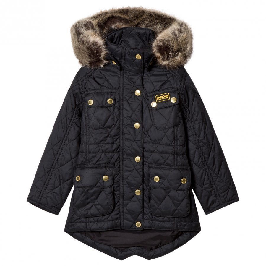 Barbour Black Enduro Long Line International Quilt Parka Parkatakki