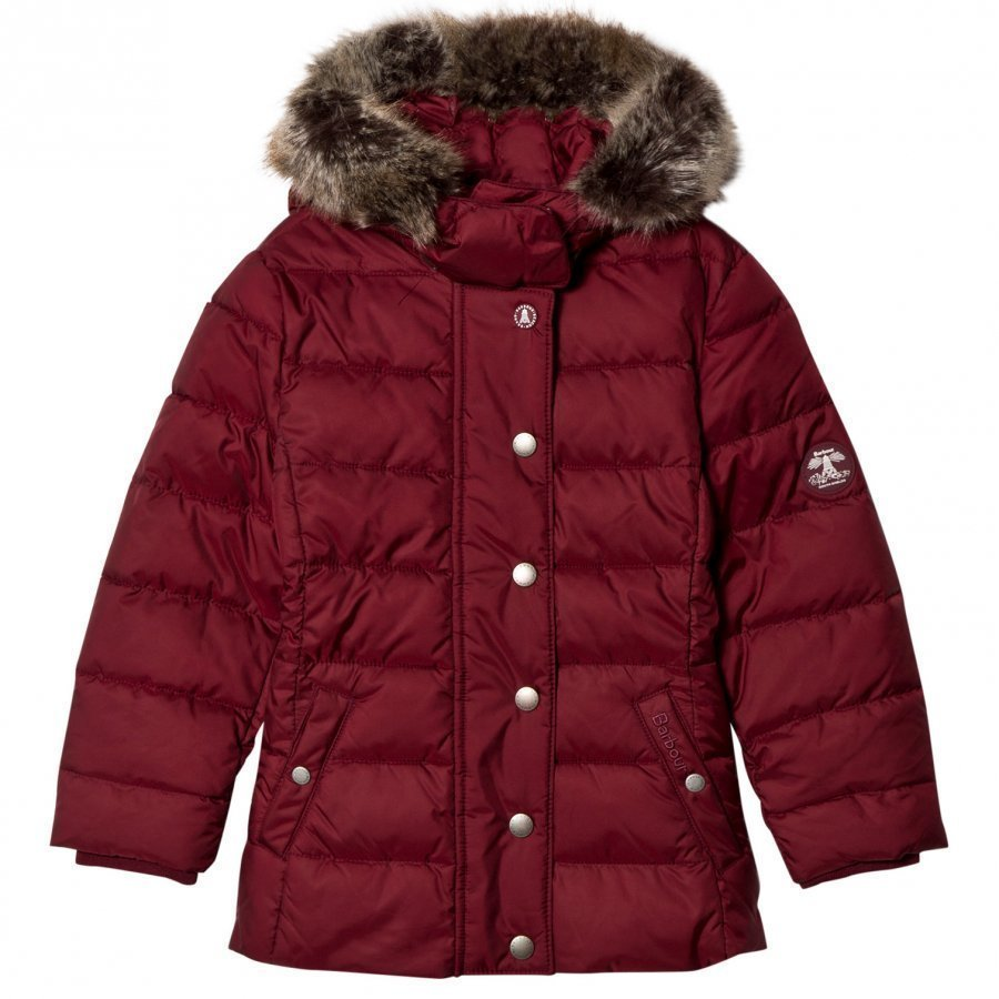 Barbour Carmine Long Line Puffer Coat With Detachable Faux Fur Hood Toppatakki