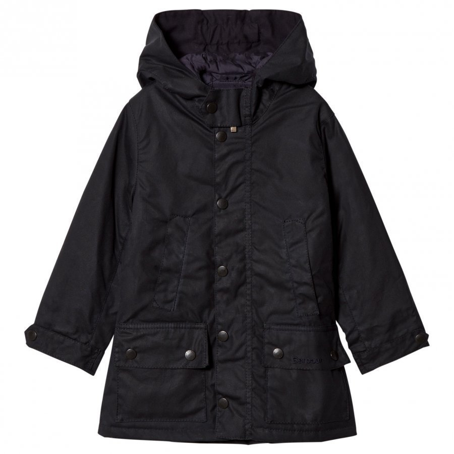 Barbour Navy Waxed Trail Hooded Jacket With Fleece Lining Parkatakki