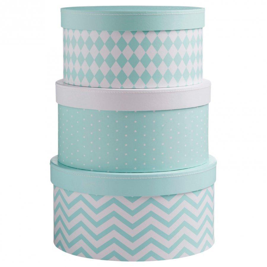 Barnkammaren Round Storage Box Set Mint Säilytyslaatikko