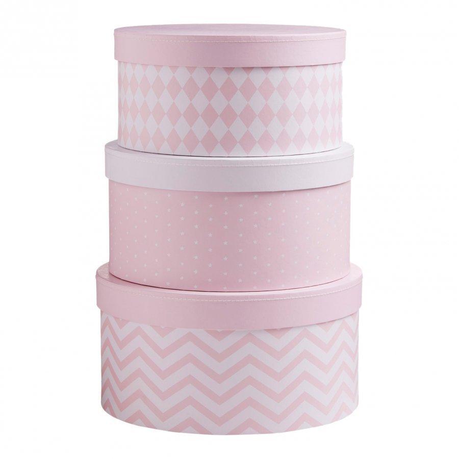 Barnkammaren Round Storage Box Set Pink Säilytyslaatikko