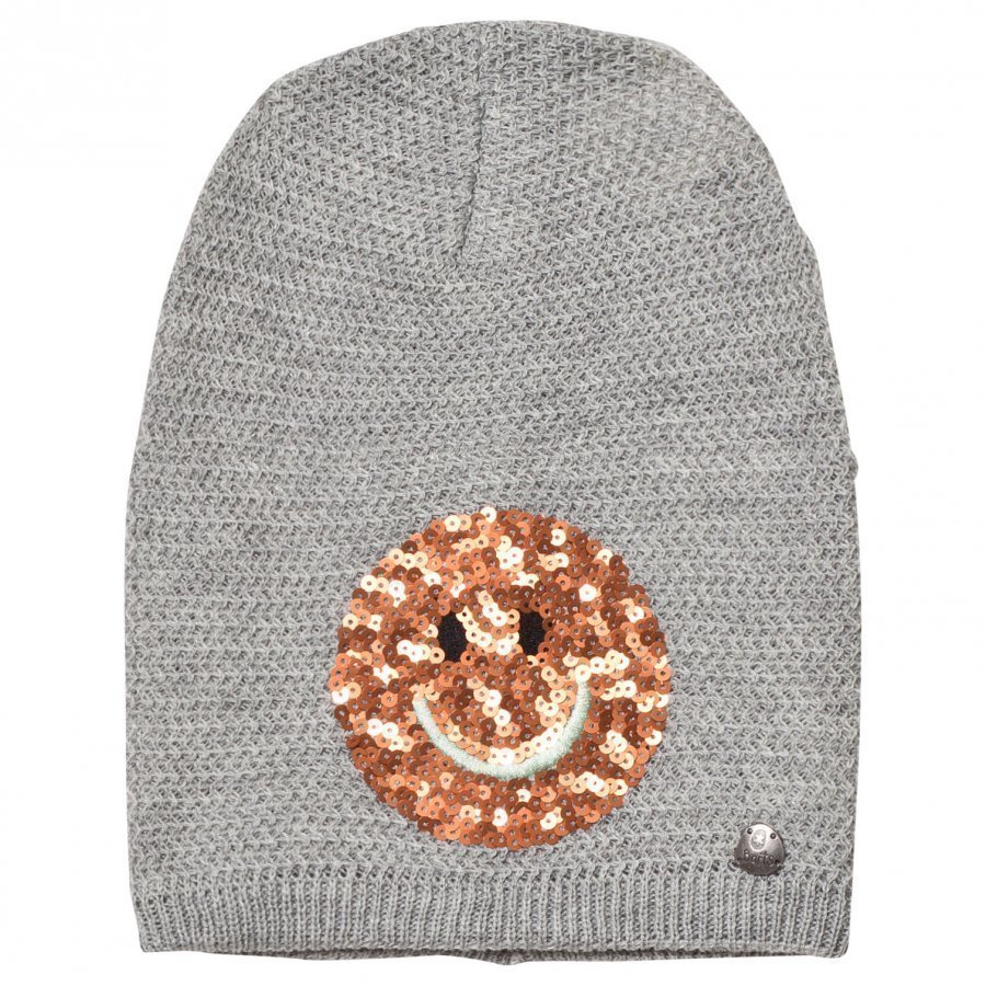 Barts Light Grey Smiley Face Fable Beanie Pipo