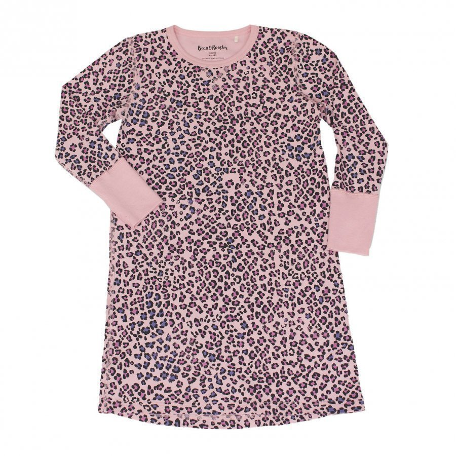 Beau & Rooster Pink Leopard Nightdress Coral Blush Yöpaita