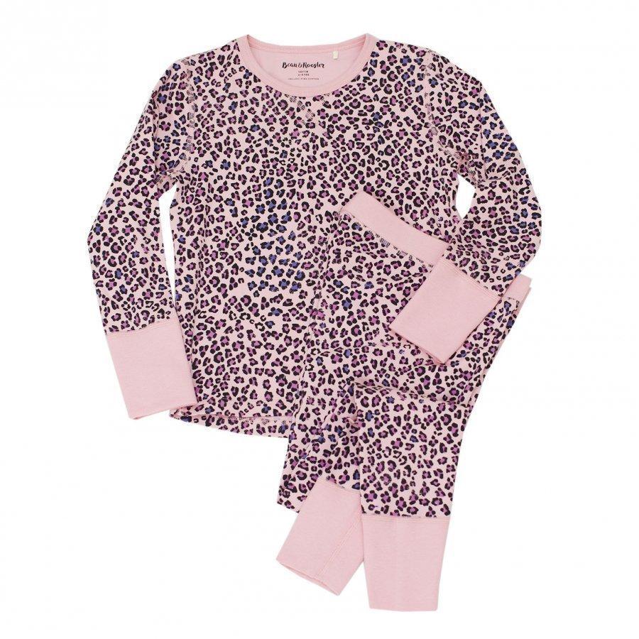 Beau & Rooster Pink Leopard Pyjamas Coral Blush Yöpuku