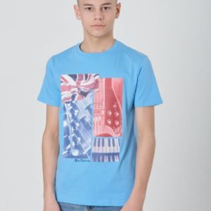 Ben Sherman Guitar And Flag Tee T-Paita Sininen