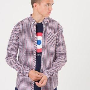 Ben Sherman Ls House Check Poplin Shirt Kauluspaita Punainen