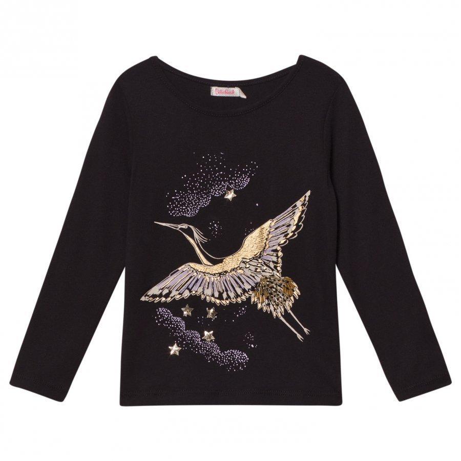 Billieblush Black And Gold Bird Embroidered Tee T-Paita