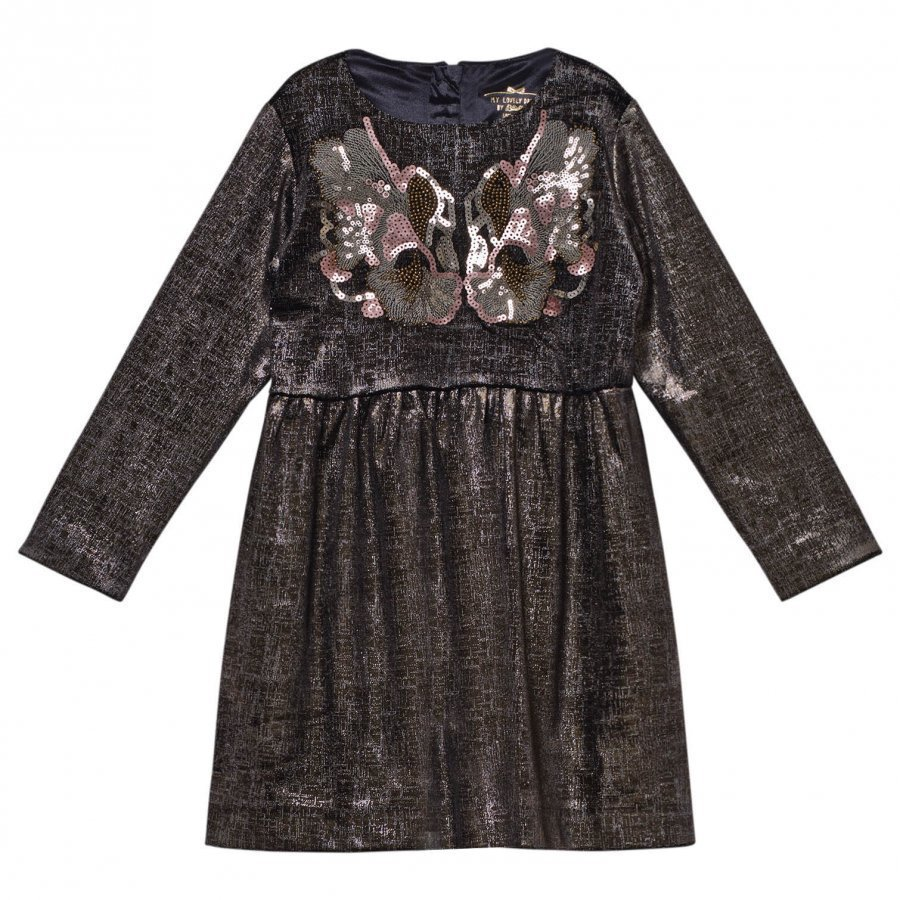 Billieblush Black And Gold Velvet Dress Juhlamekko