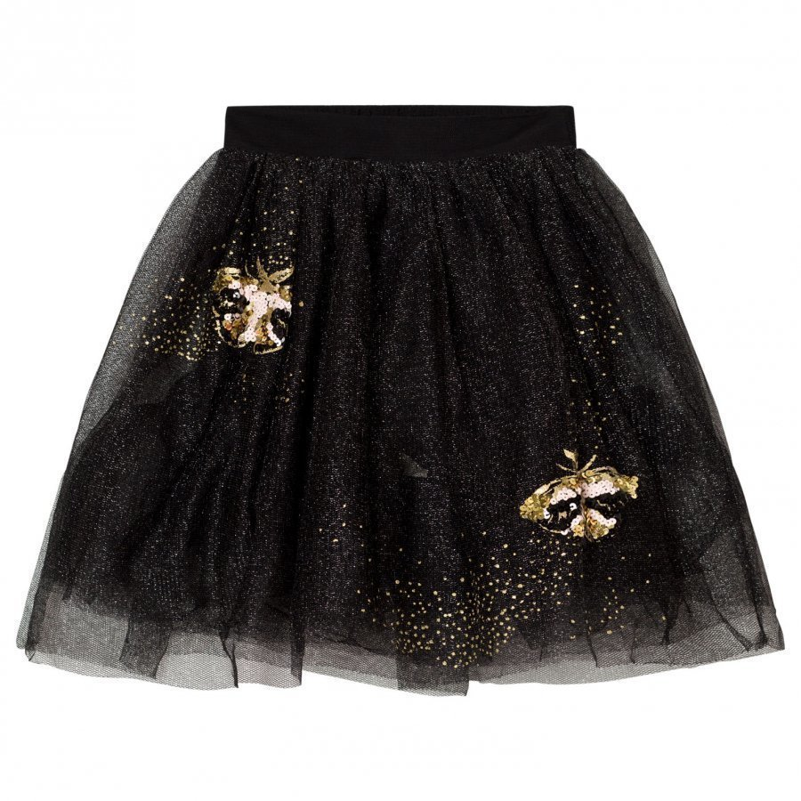 Billieblush Black Gold Glitter Embroidered Tulle Skirt Tyllihame