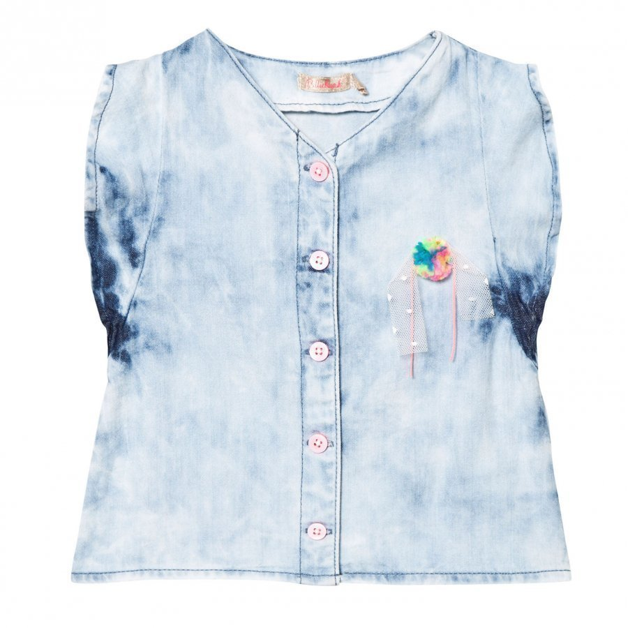 Billieblush Blue Acid Washed Denim Frill Top With Rainbow Pom Pom T-Paita
