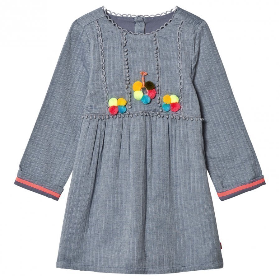 Billieblush Blue Chambray Pom Pom Dress Mekko