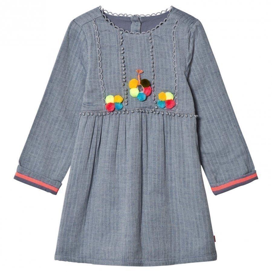 Billieblush Blue Chambray Pom Pom Dress Mekko