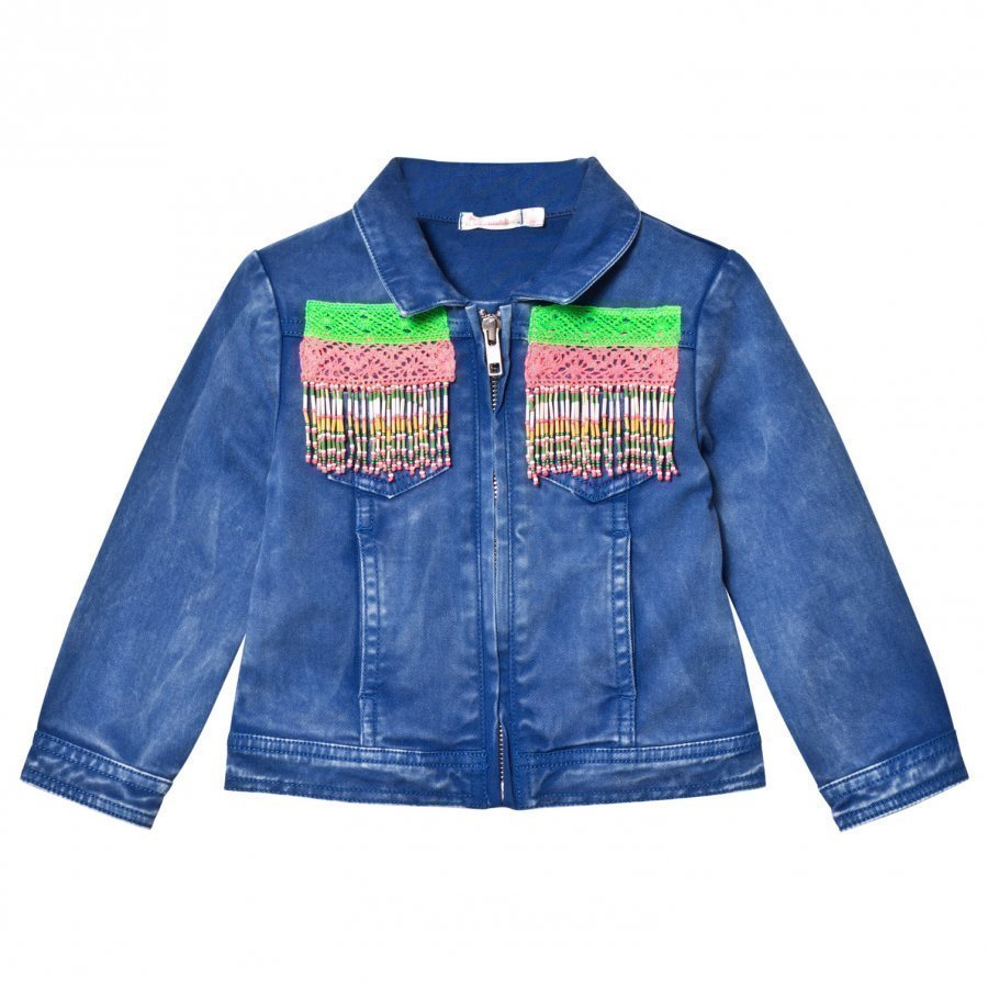 Billieblush Blue Wash Denim Jacket With Beaded Detail Farkkutakki