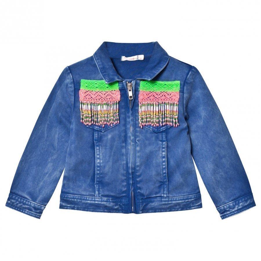 Billieblush Blue Wash Denim Jacket With Beaded Detail Farkkutakki