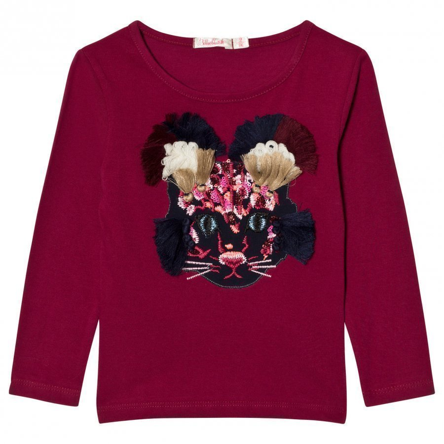 Billieblush Burgundy Mouse Applique Tee T-Paita