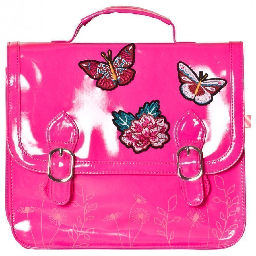 Billieblush Butterfly Applique Patent Satchel Hot Pink Reppu