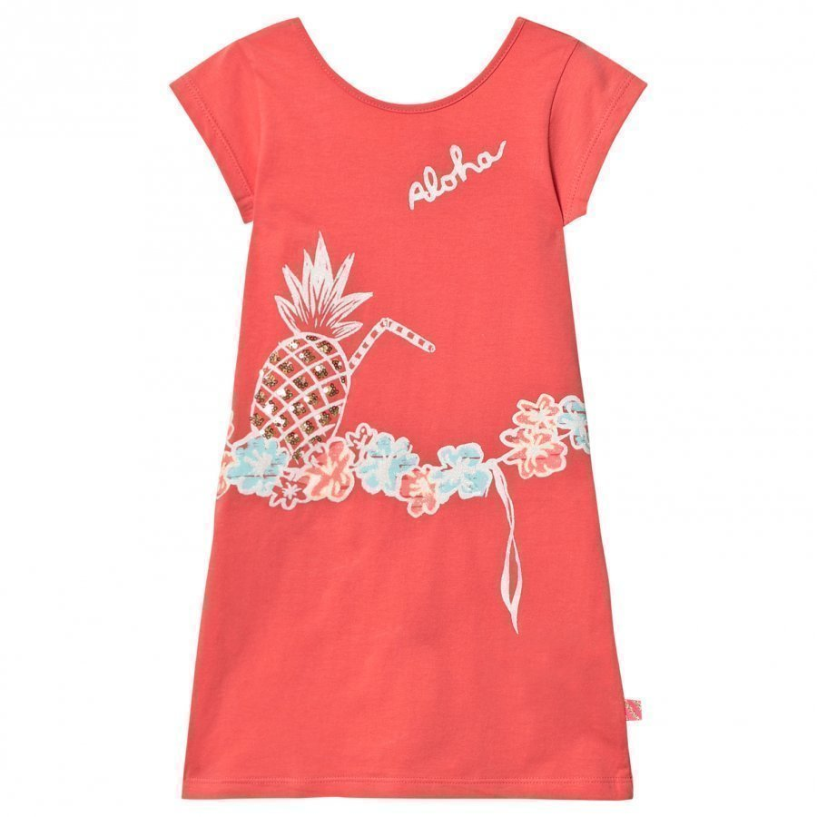 Billieblush Coral Jersey Dress With Sequin Pineapple Print Mekko