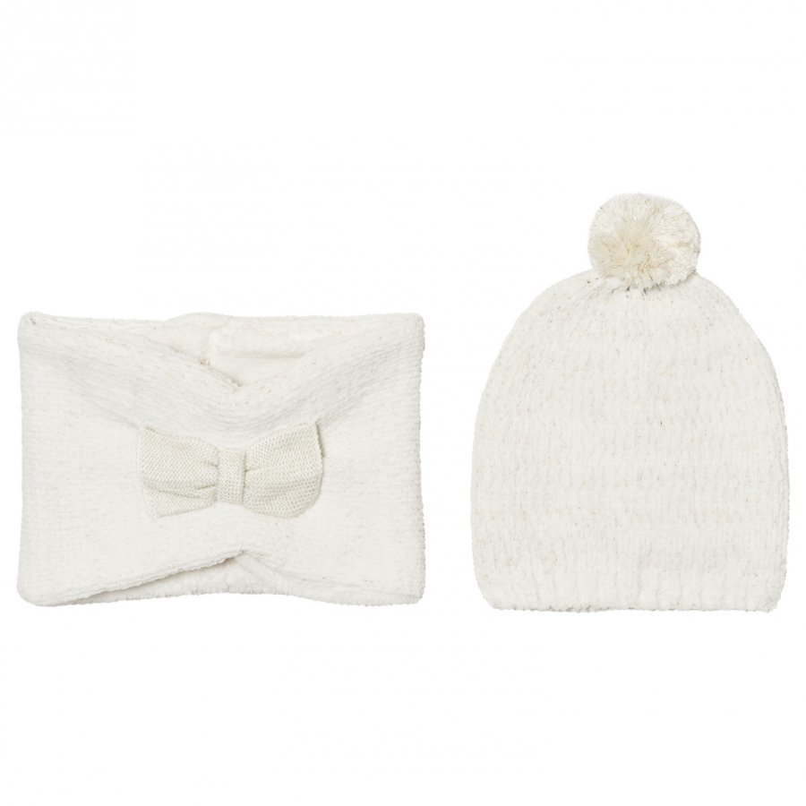 Billieblush Cream Gold Bow Hat Snood Scarf Set Pipo