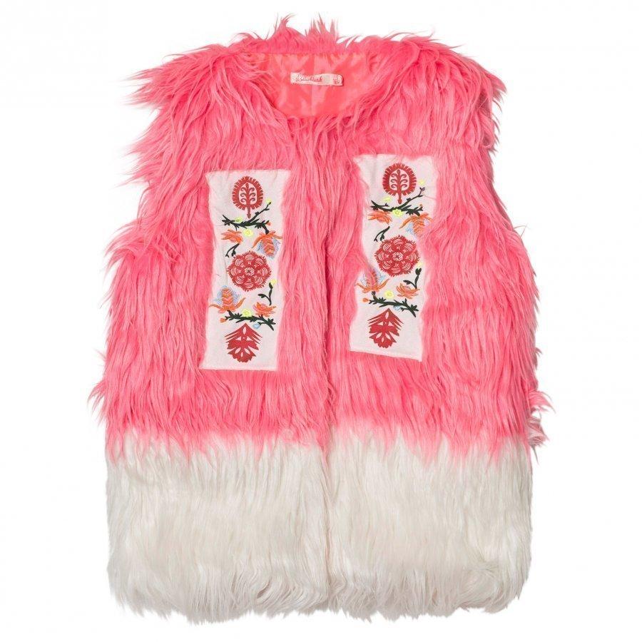 Billieblush Faux Fur Gilet In Pink/White Turkis