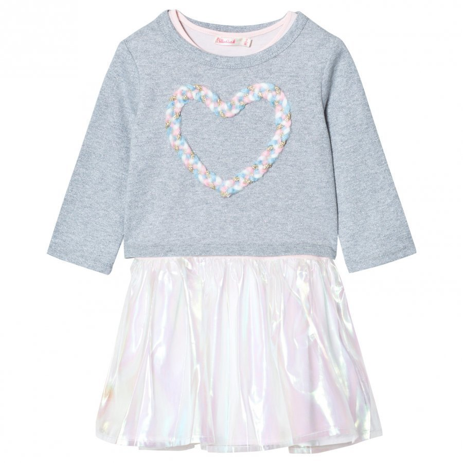 Billieblush Glitter Jersey And Organza Dress Grey Mekko